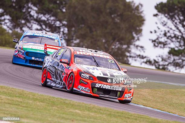 James Courtney of the Holden Racing Team and Mark Winterbotom of the Pepsi Max Crew during practice for the V8 Supercars WD40 Philip Island...
