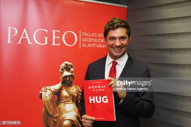 Norbert Csizmadia editorinchief of Hungarian Geopolitics and president of board of the Pallas Athene Geopolitical Foundation shows a special...