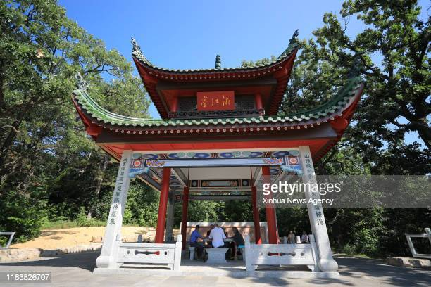 Nov. 21, 2019 -- Photo taken on Aug. 6, 2019 shows an open air pavilion, a replica of the famed Aiwan Pavilion in China's Changsha, at the China...