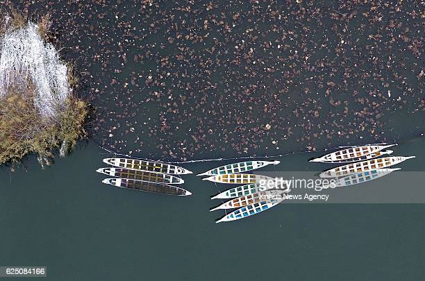 JINAN Nov 22 2016 Boats are seen on the Daming Lake after snow in Jinan capital of east China's Shandong Province Nov 22 2016