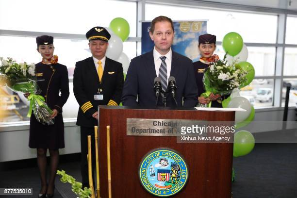 Darrin Morgan director of Sustainable Fuels Strategy at Boeing speaks at O'Hare International Airport in Chicago the United States on Nov 21 2017...