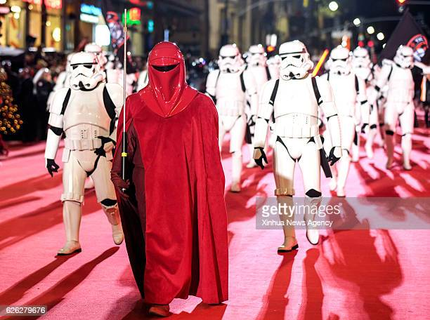 People dressed up as characters of Star Wars participate in the 85th annual Hollywood Christmas Parade in Los Angeles the United States Nov 27 2016