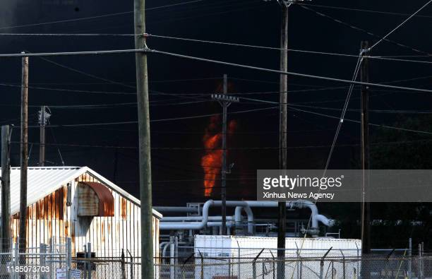 HOUSTON Nov 27 2019 A chemical plant of TPC Group is shrouded by smoke as the fire continues in Port Neches about 150 km east of downtown Houston...
