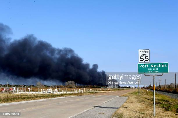 HOUSTON Nov 27 2019 Smoke rises from a chemical plant of TPC Group where an explosion occurred in Port Neches about 150 km east of downtown Houston...