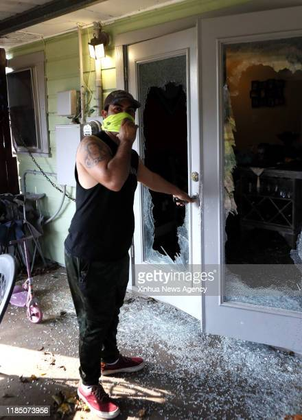 HOUSTON Nov 27 2019 The glass doors of a house are seen shattered due to a nearby chemical plant explosion in Port Neches about 150 km east of...