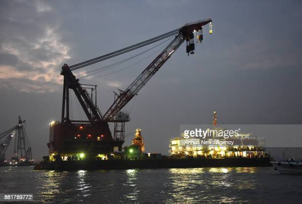 GUANGZHOU Nov 28 2017 Rescuers work at the accident site where a cargo ship sank off the coast of south China's Guangdong Province Nov 28 2017 Seven...
