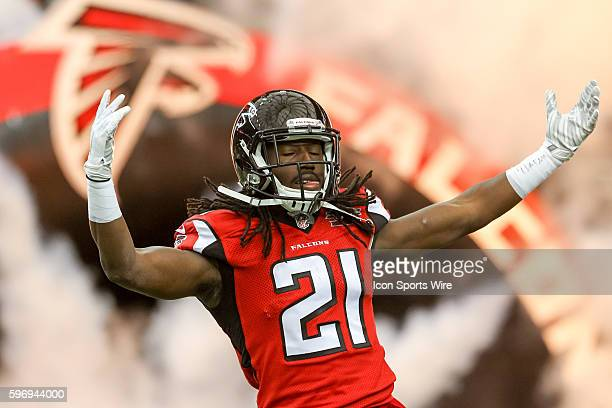 Atlanta Falcons cornerback Desmond Trufant during the introductions before the game between the Vikings and the Falcons The Vikings defeated the...