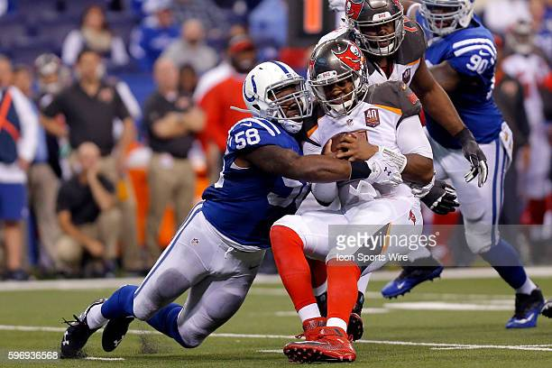 Indianapolis Colts Linebacker Trent Cole [7957] sacks Tampa Bay Buccaneers quarterback Jameis Winston during the football game between the Tampa Bay...