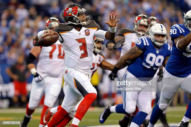 Tampa Bay Buccaneers quarterback Jameis Winston in action during the football game between the Tampa Bay Buccaneers at Indianapolis Colts at Lucas...
