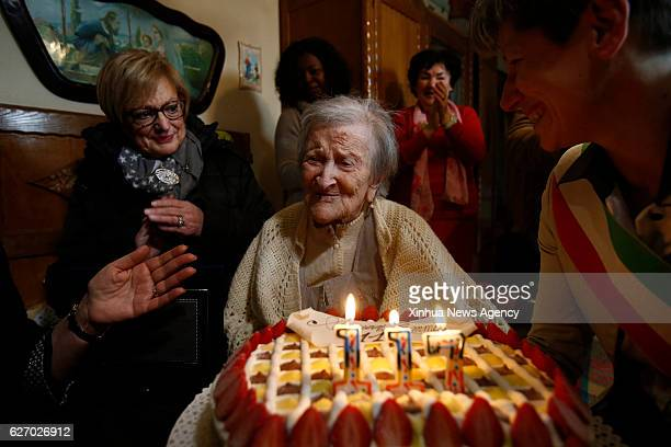 ROME Nov 29 2016 Emma Morano is seen at her 117th birthday in Verbania northwest Italy on Nov 29 2016 The woman considered as the world's oldest...