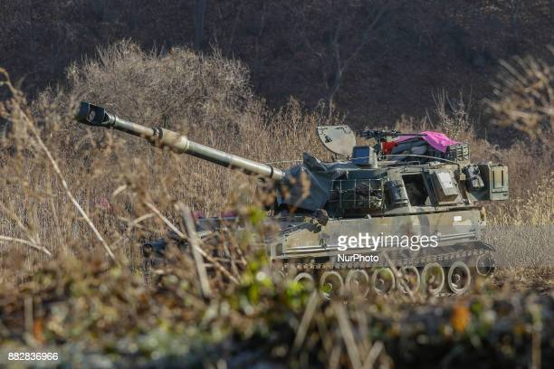 Nov 29 2017Seoul South KoreaSouth Korean Military K55 selfpropelled howitzers take part in a drill near DMZ in Paju South Korea Nov 29 2017 North...