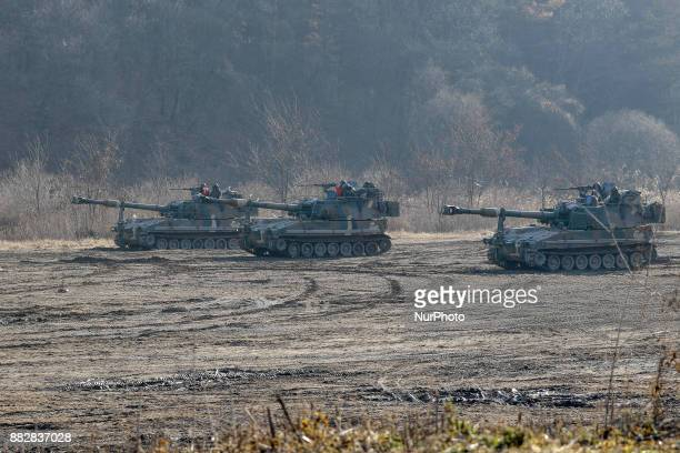 Nov 29 2017Seoul South KoreaSouth Korean Military K55 selfpropelled howitzers take part in a drill near DMZ in Paju South Korea Nov 29 2017 North...
