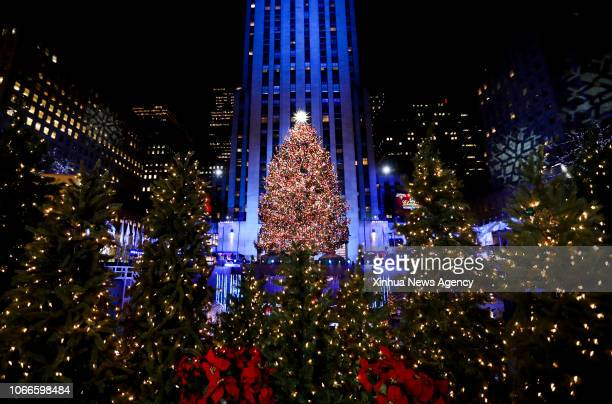 NEW YORK Nov 29 2018 Photo taken on Nov 28 2018 shows the Rockefeller Center Christmas tree after it was lighted in New York the United States A...