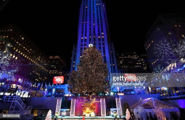 NEW YORK Nov 30 2017 The lighted Christmas tree is seen after the 85th Christmas Tree Lighting Ceremony in Rockefeller Center in New York the United...