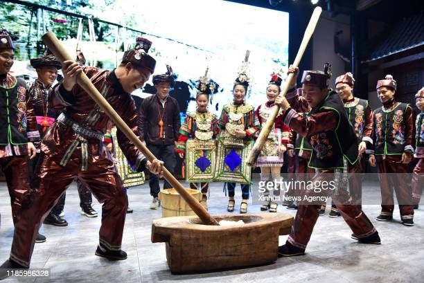 GUIYANG Nov 30 2019 People of the Dong ethnic group make ciba a kind of food made of sticky rice during the celebration of Dong ethnic group's New...