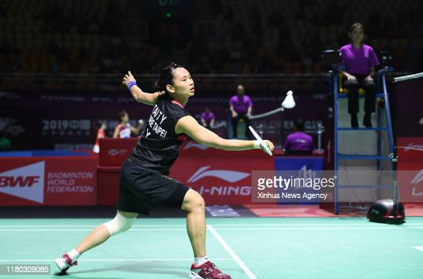 FUZHOU Nov 5 2019 Tai Tzu Ying of Chinese Taipei hits a return during the women's singles first round match between Tai Tzu Ying of Chinese Taipei...