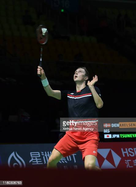 FUZHOU Nov 5 2019 Viktor Axelsen of Denmark hits a return during the men's singles first round match between Kanta Tsuneyama of Japan and Viktor...