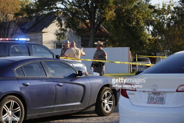SPRINGS Nov 6 2017 Roads are closed by local police near the church where 26 people were killed in Sutherland Springs in the US state of Texas on Nov...