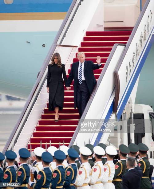US President Donald Trump arrives in Beijing capital of China on Nov 8 starting his state visit to China