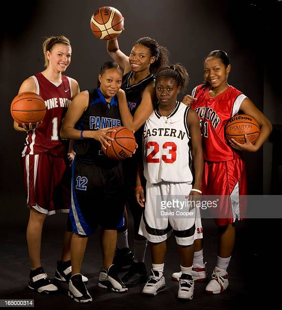 Nov 9 2008 Toronto Star's annual TOP FIVE high school female basketball allstars LR Whitney Ellenor of Pine Ridge Janice Bartley St Marguerite...