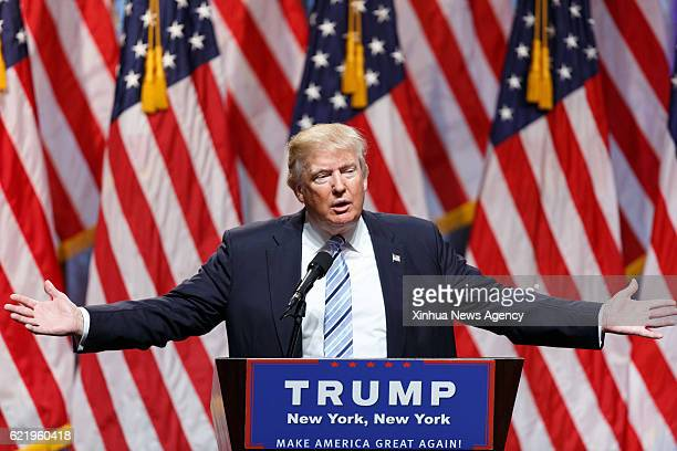 BEIJING Nov 9 2016 File photo taken on July 16 2016 shows Donald Trump speaking at a campaign event in New York the United States Former real estate...