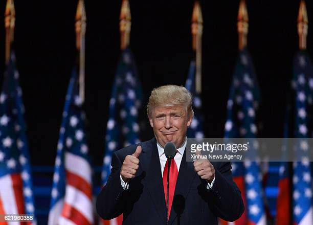 BEIJING Nov 9 2016 File photo taken on July 21 2016 shows Donald Trump taking the stage on the last day of the Republican National Convention in...