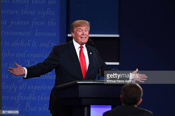 BEIJING Nov 9 2016 File photo taken on Oct 19 2016 shows Donald Trump participating in the third and final presidential debate at the University of...