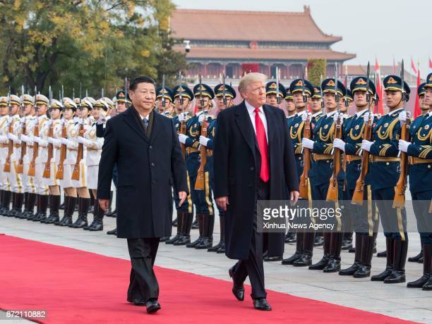 BEIJING Nov 9 2017 Chinese President Xi Jinping holds a grand ceremony to welcome US President Donald Trump at the square outside the east gate of...