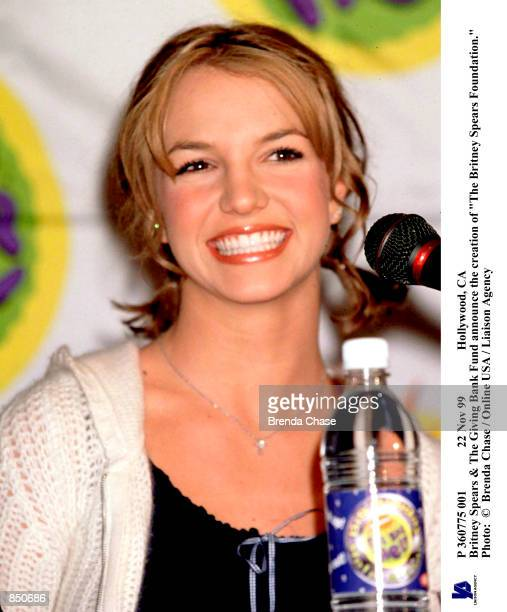 Nov 99 Hollywood CA Britney Spears The Giving Bank Fund announce the creation of 'The Britney Spears Foundation' Photo Brenda Chase / Online USA /...