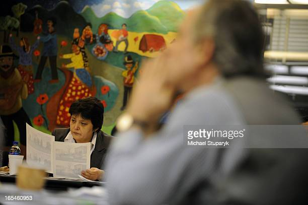 Nov18 2008 Czech Minister for Human Rights Jamila Stenlikova meeting with Roma refugees at community Centre on Springhurst Ave Paul St Clair on the...