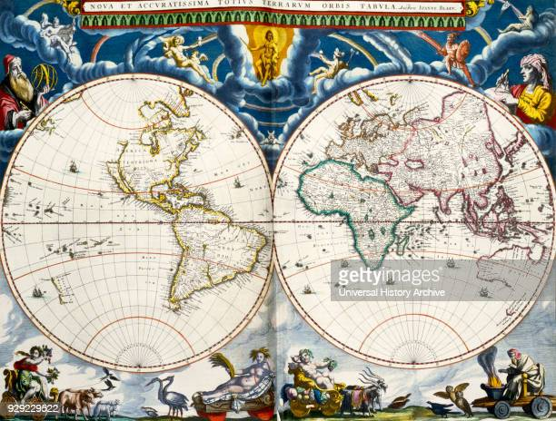 Nova et accuratissima totius terrarum orbis tabula A new and most accurate map of all the world's countries World map by Joan Blaeu dating from the...