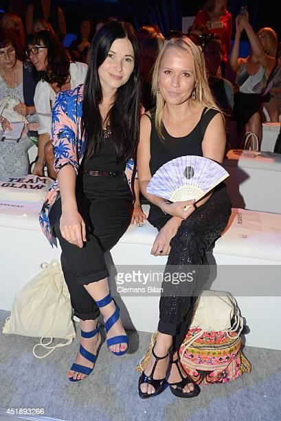 Nova Meierhenrich and Anna Fischer attend the Glaw show during the Mercedes-Benz Fashion Week Spring/Summer 2015 at Erika Hess Eisstadion on July 9,...