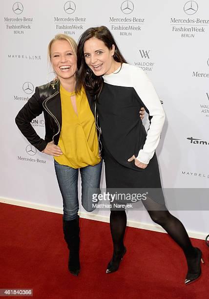 Nova Meierhenrich and Elisabeth Lanz attend the Riani show during the MercedesBenz Fashion Week Berlin Autumn/Winter 2015/16 at Brandenburg Gate on...
