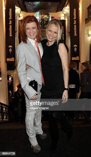 Nova Meierhenrich and Singer Lucy Diakovska pose prior to the Michalsky Style Night Fashion Show at Friedrichstadtpalast on January 22 2010 in Berlin...