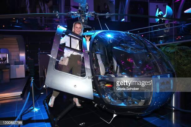 Nova Meierhenrich at a helicpter during the Scuderia AlphaTauri launch event at Hangar 7 on February 14 2020 in Salzburg Austria