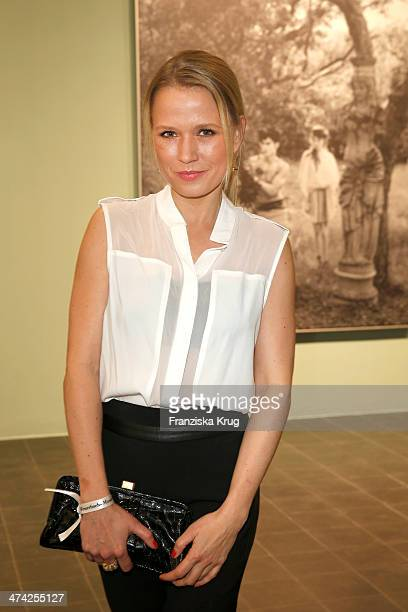 Nova Meierhenrich attends the 'Feuerbachs Musen Lagerfelds Models' Exhibition at Kunsthalle on February 22 2014 in Hamburg Germany