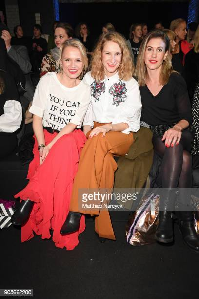Nova Meierhenrich Chiara Schoras and Wolke Hegenbarth attend the Riani show during the MBFW Berlin January 2018 at ewerk on January 16 2018 in Berlin...
