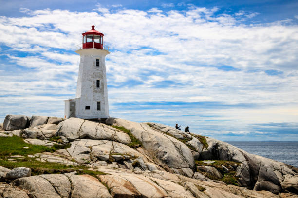 Nova Scotia's Icon - Peggy's Cove Lighthouse During A Sunny Day