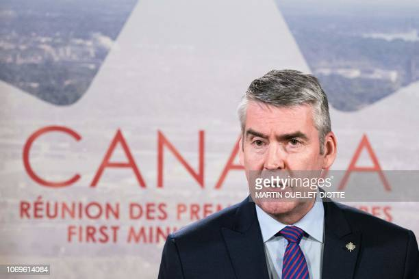 Nova Scotia's premier Stephen McNeil speaks during the prime ministers of the Canadian provinces gathering in Montreal on December 7 2018 at the...