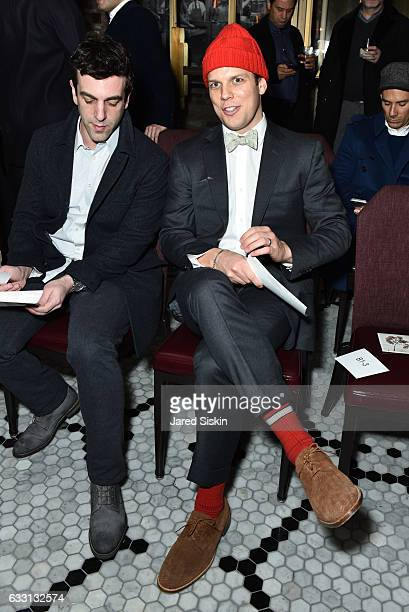 B J Novak and Jake Lacy attend Billy Reid Front Row NYFW Men's at The Cellar at The Beekman on January 30 2017 in New York City