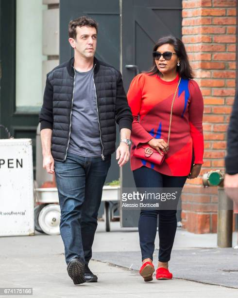 J Novak and Mindy Kaling are seen walking around East Villlage on April 27 2017 in New York New York