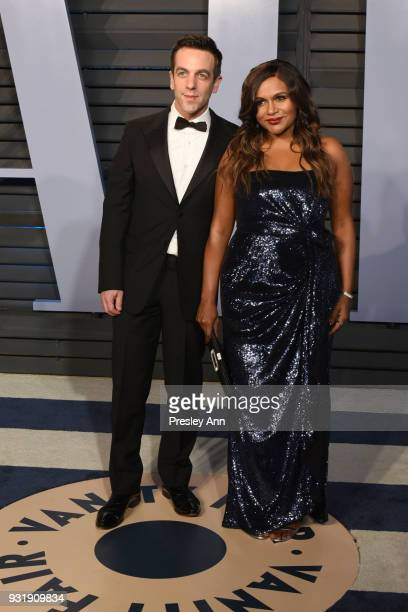 J Novak and Mindy Kaling attend 2018 Vanity Fair Oscar Party Hosted By Radhika Jones Arrivals at Wallis Annenberg Center for the Performing Arts on...