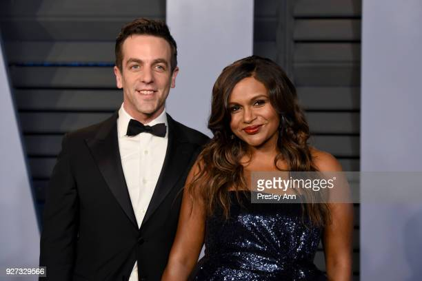 B J Novak and Mindy Kaling attend the 2018 Vanity Fair Oscar Party Hosted By Radhika Jones Arrivals at Wallis Annenberg Center for the Performing...
