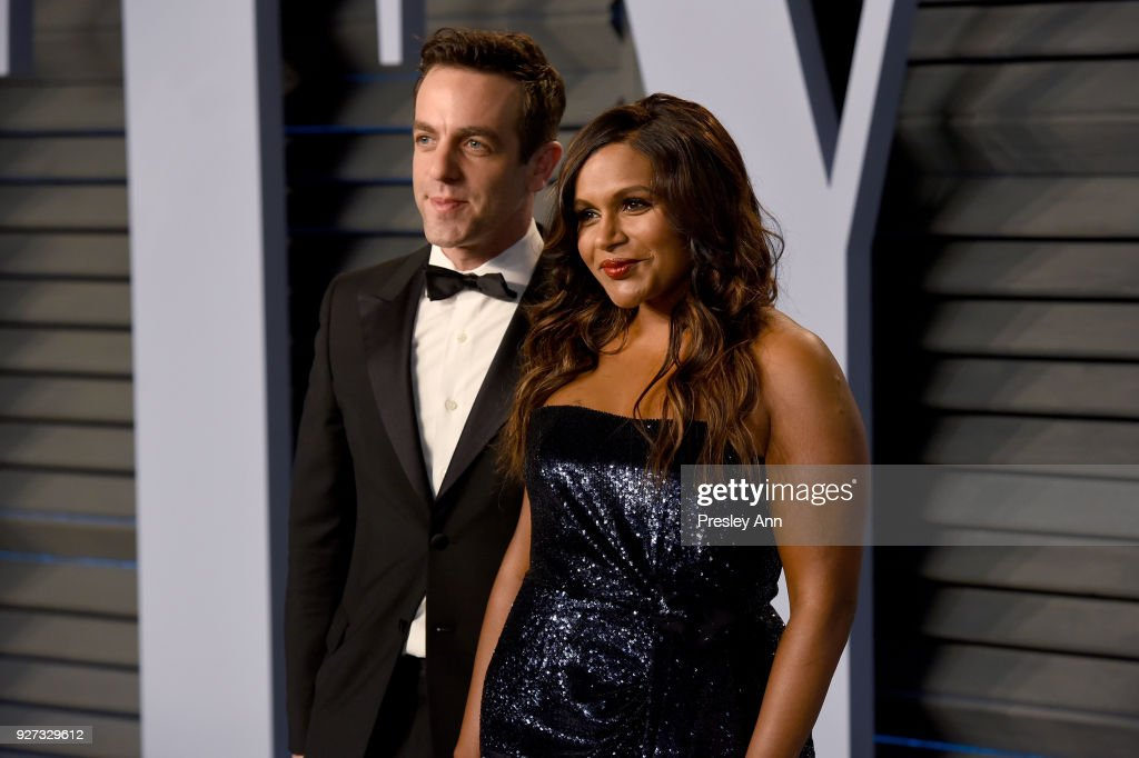 B. J. Novak and Mindy Kaling attend the 2018 Vanity Fair Oscar Party Hosted By Radhika Jones - Arrivals at Wallis Annenberg Center for the Performing Arts on March 4, 2018 in Beverly Hills, California.