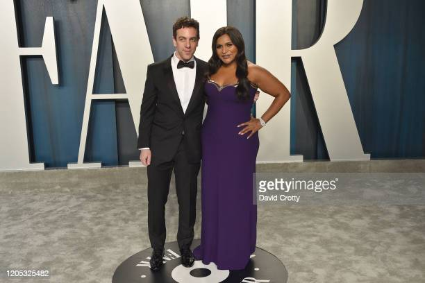 Novak and Mindy Kaling attend the 2020 Vanity Fair Oscar Party at Wallis Annenberg Center for the Performing Arts on February 09 2020 in Beverly...