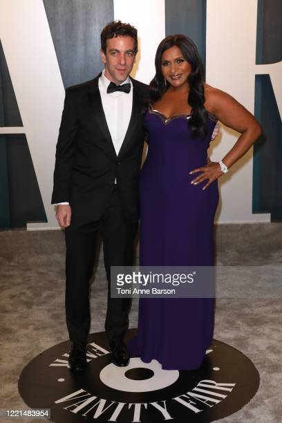 J Novak and Mindy Kaling attend the 2020 Vanity Fair Oscar Party at Wallis Annenberg Center for the Performing Arts on February 09 2020 in Beverly...