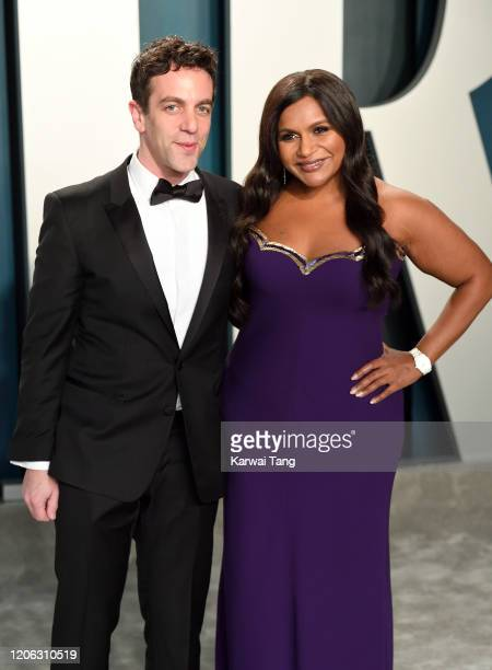 J Novak and Mindy Kaling attend the 2020 Vanity Fair Oscar Party hosted by Radhika Jones at Wallis Annenberg Center for the Performing Arts on...
