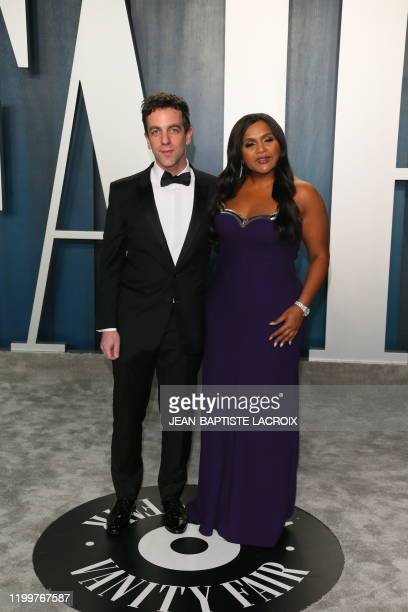 Novak and Mindy Kaling attend the 2020 Vanity Fair Oscar Party following the 92nd annual Oscars at The Wallis Annenberg Center for the Performing...