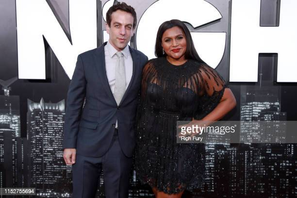B J Novak and Mindy Kaling attend the premiere of Amazon Studio's Late Night at The Orpheum Theatre on May 30 2019 in Los Angeles California