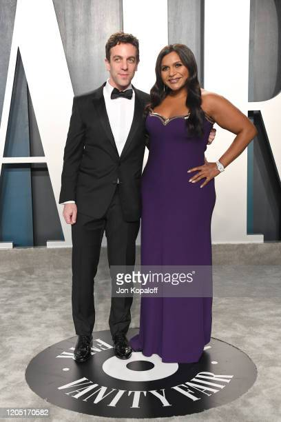 Novak and Mindy Kaling attends the 2020 Vanity Fair Oscar Party hosted by Radhika Jones at Wallis Annenberg Center for the Performing Arts on...
